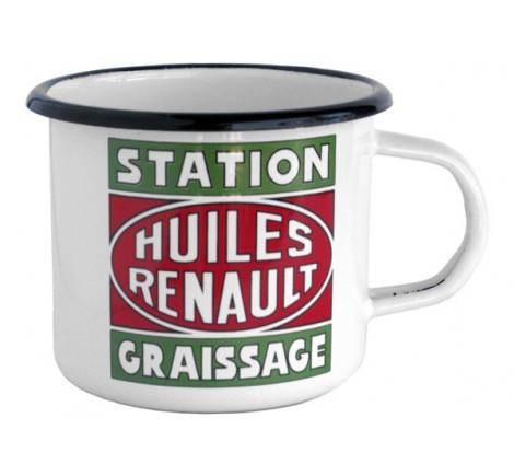 """Mug en métal émaillé Huiles Renault """"Station Graissage"""" - 15€ - http://fouduvolant.com"""
