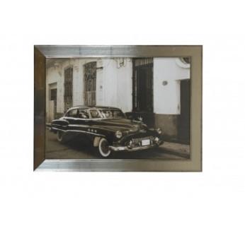 Tableau rétro en métal argenté vieille Buick 60x80 cm - 97.20€ - http://fouduvolant.com